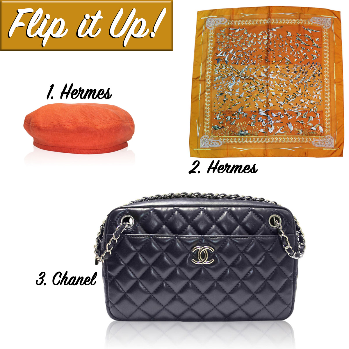 Chanel No. 12 Camera Bag Hermes Scarf and Beret