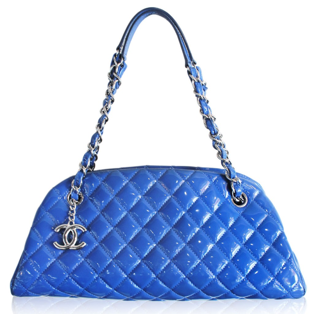 Chanel Blue Just Madamoiselle Quilted Patent Leather Bowler Bag