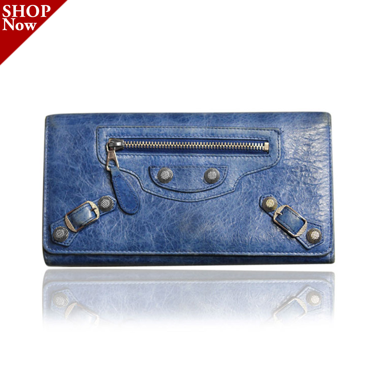 Balenciaga Blue Leather Long Stud Wallet Boca Raton