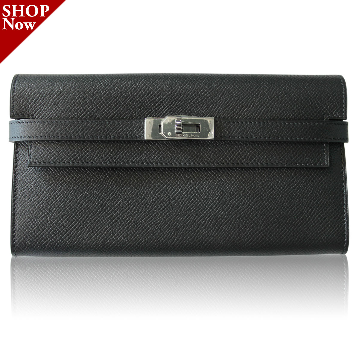 Hermes Black Epsom Kelly Wallet Boca Raton in Box