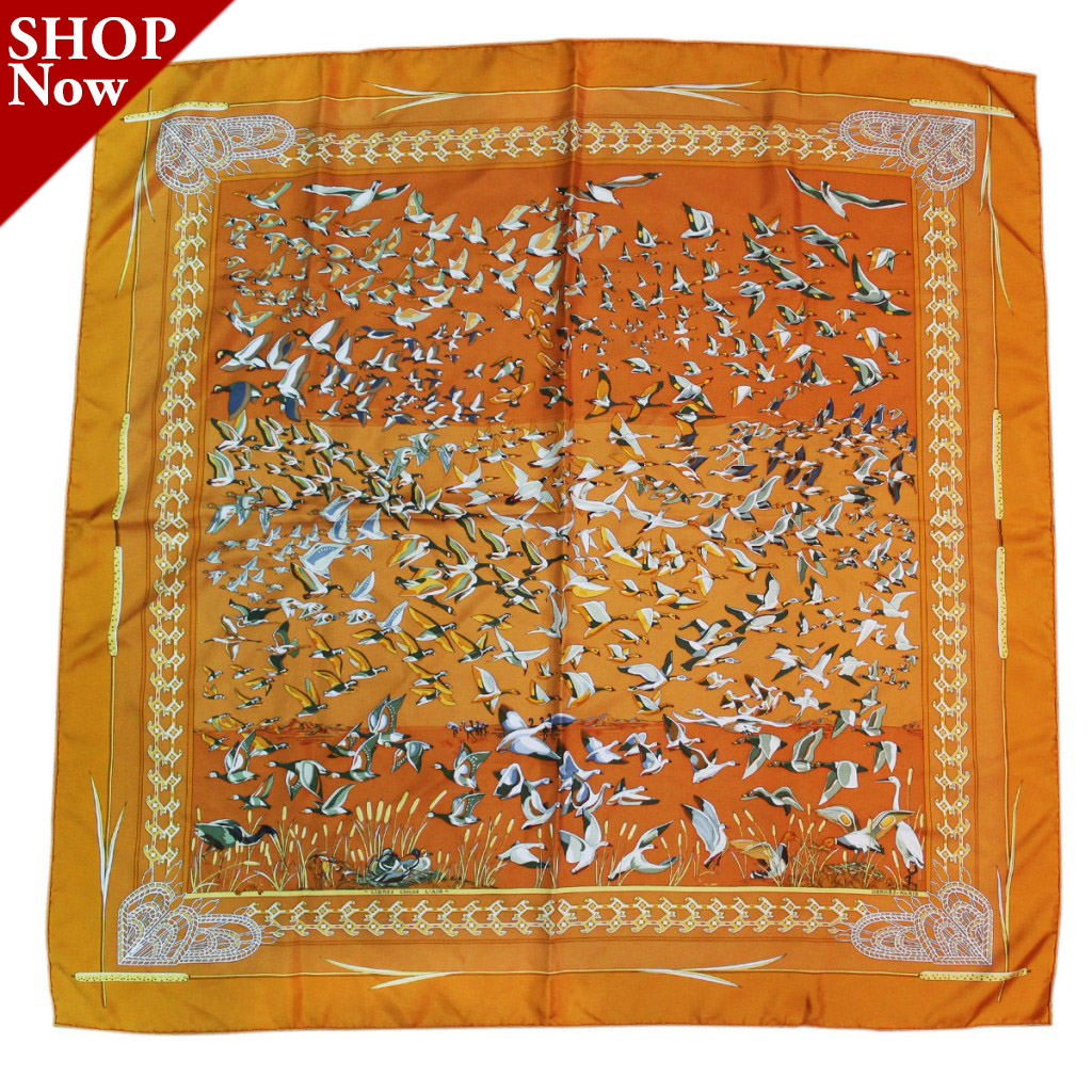 Hermes Silk Orange Libres Comme L'Air Geese Scarf Boca Raton