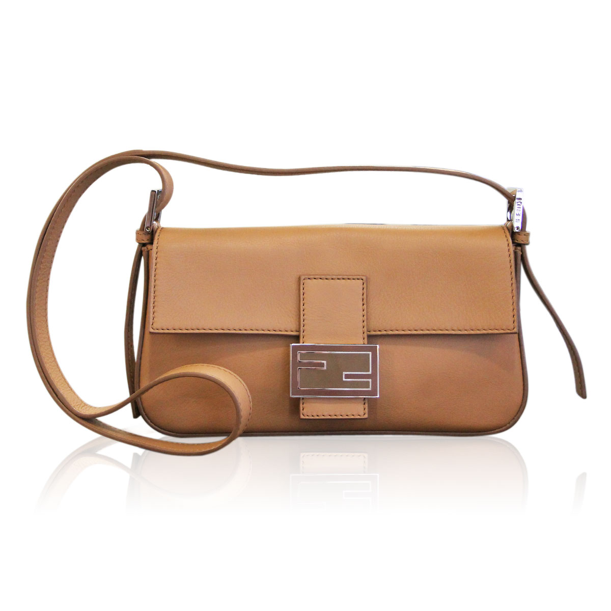 Fendi Barley Leather Baguette Shoulder Bag Cross Body